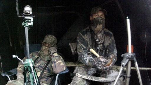 Turkey Hunter Sleeping in the Turkey Blind